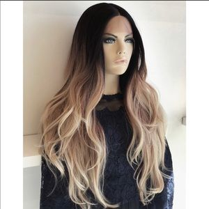Brown root with blonde ends wavy wig!